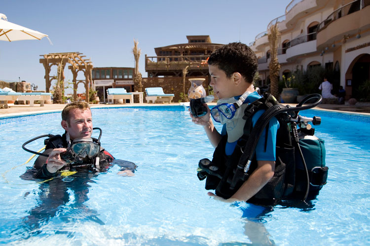 Learning to Dive at Coral Coast Hotel, Dahab